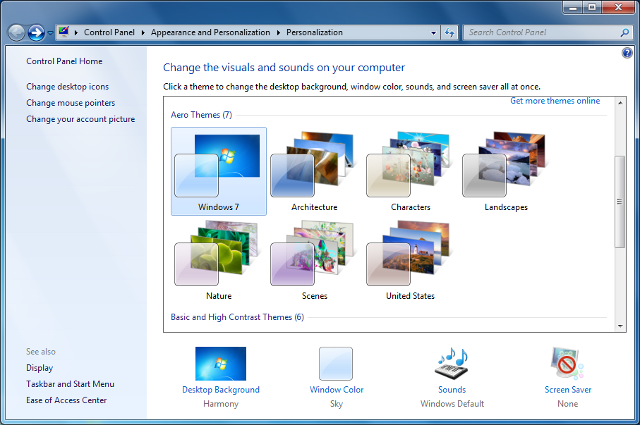 The Customization Window Is A Fun Easy To Use Feature Of Windows 7