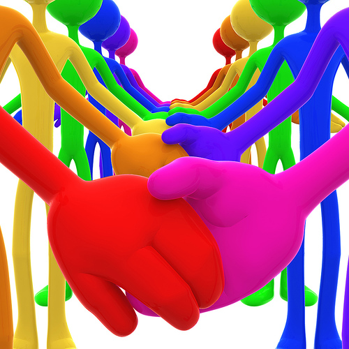 3D Full Spectrum Unity Holding Hands Concept
